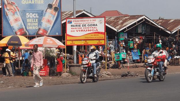 Marché central de Virunga totalement détruit en 2002, mais aujourd'hui entièrement réhabilité